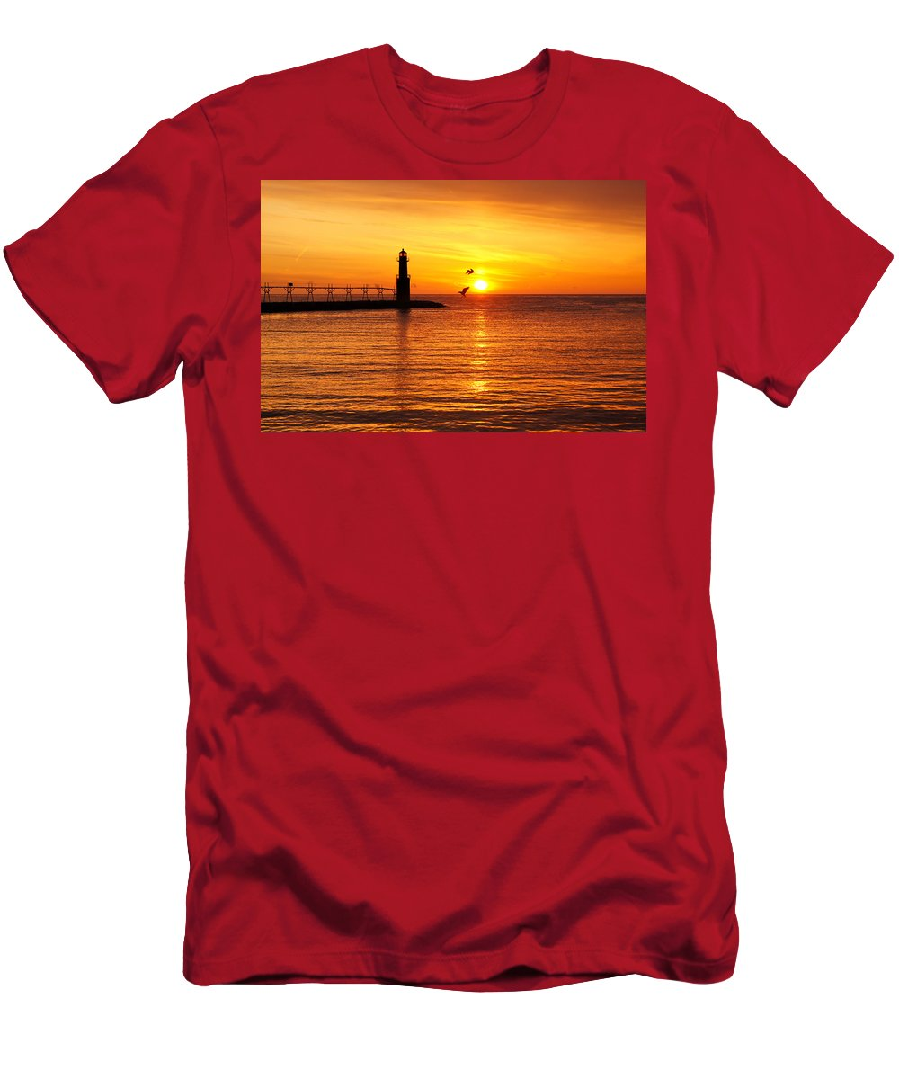 Lighthouse Men's T-Shirt (Athletic Fit) featuring the photograph Sunrise Frolic by Bill Pevlor