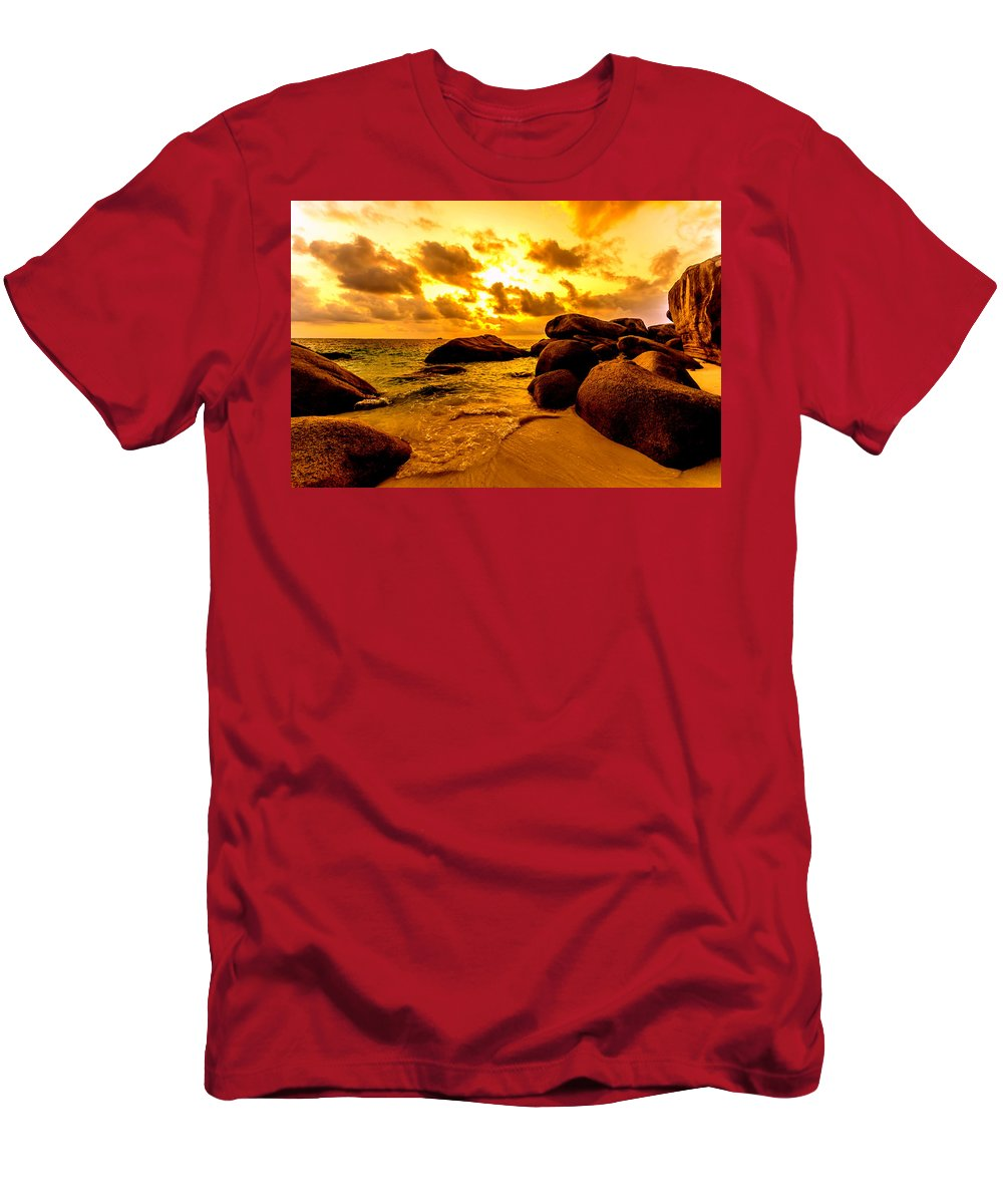 Indonesia Men's T-Shirt (Athletic Fit) featuring the photograph Sunrise In Bintan 2 by Jijo George