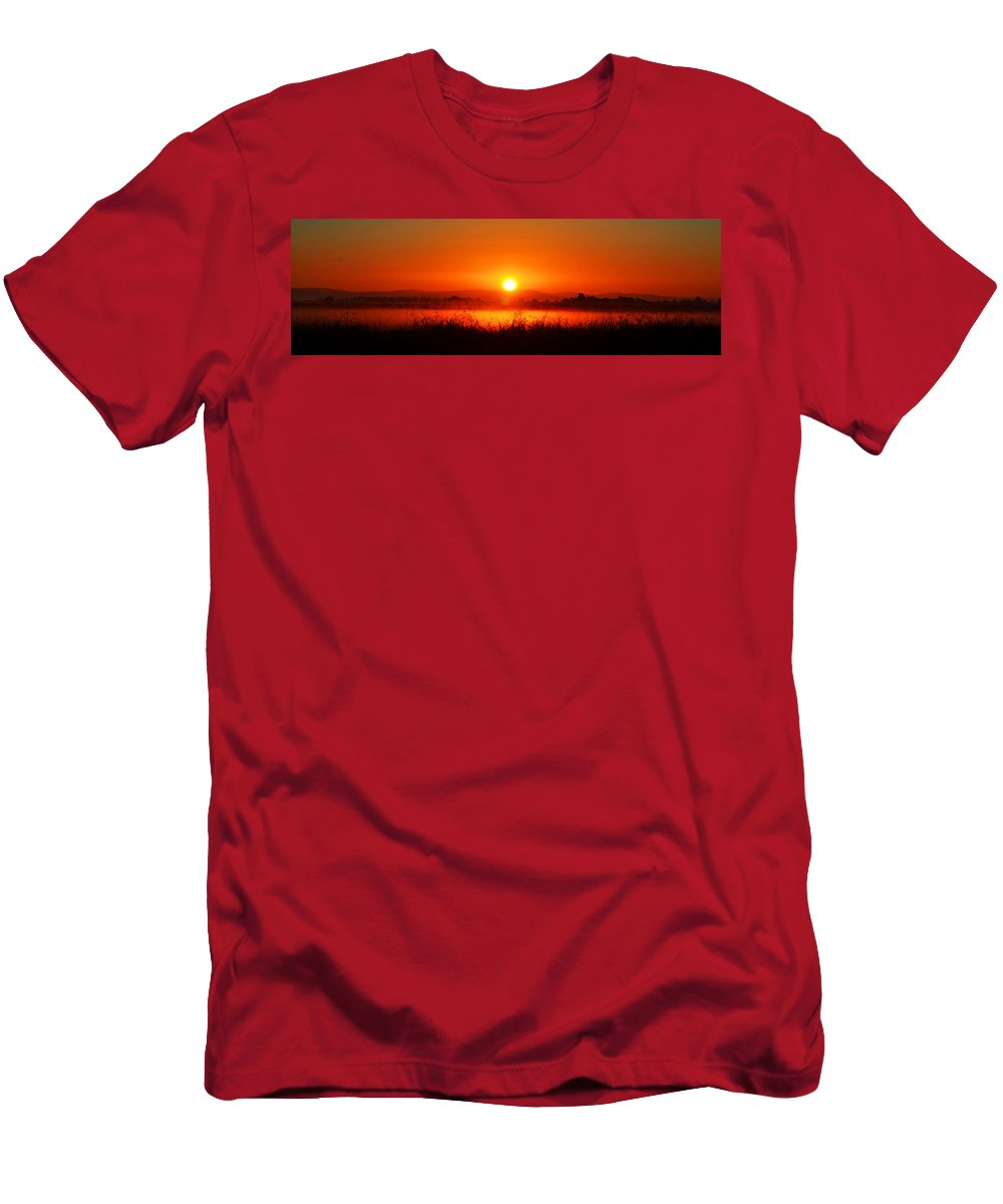 Rice Men's T-Shirt (Athletic Fit) featuring the photograph Sunrise On The Rice Fields by Holly Blunkall