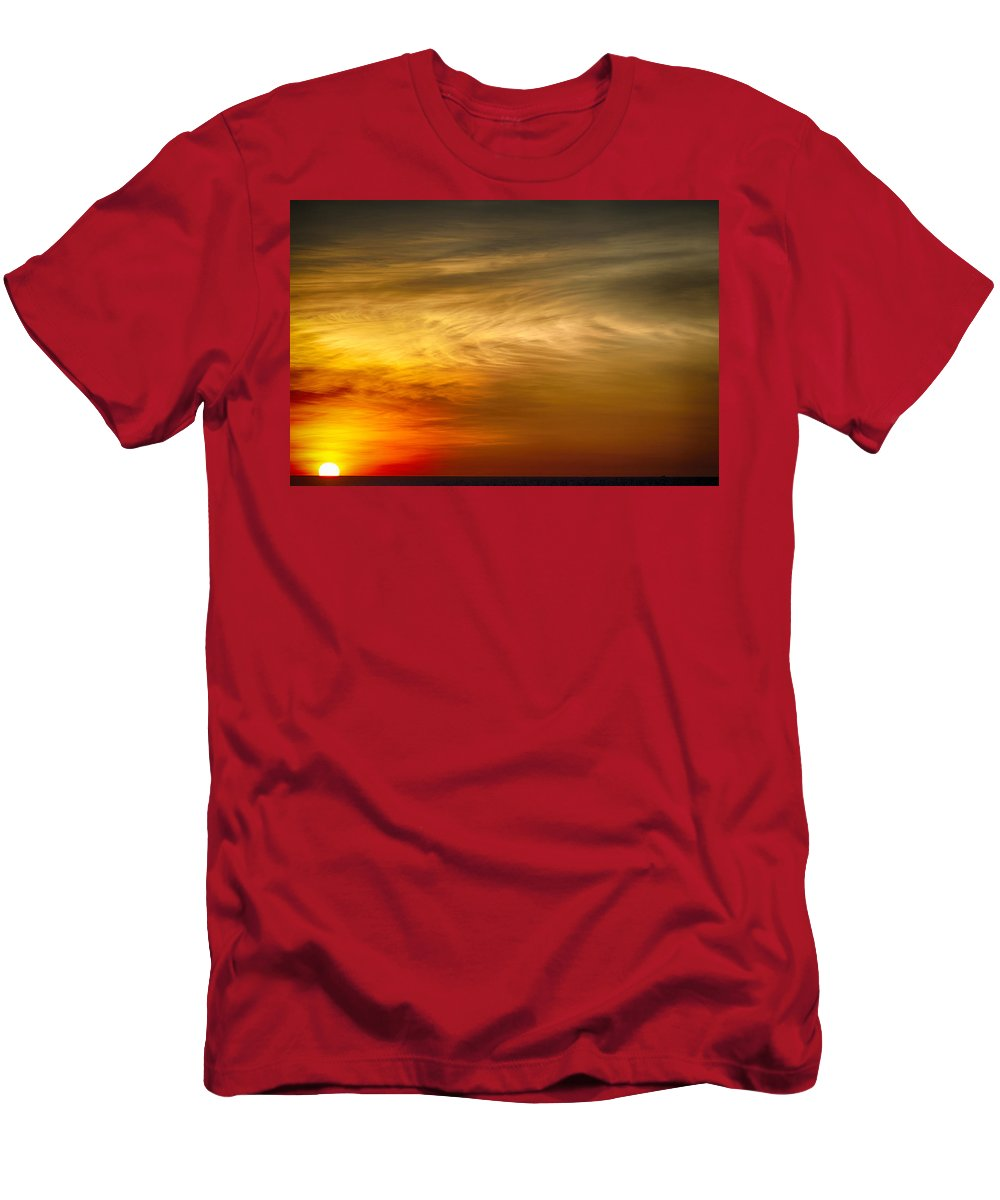 Sea Men's T-Shirt (Athletic Fit) featuring the photograph Sunset Feather Clouds by Douglas Barnard