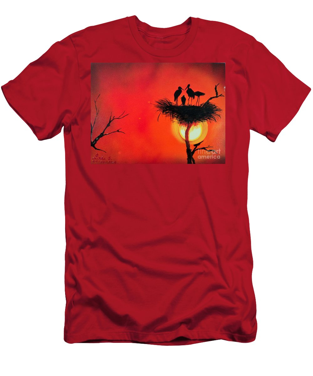 Sun Men's T-Shirt (Athletic Fit) featuring the painting Sunset Home by Linda Lin