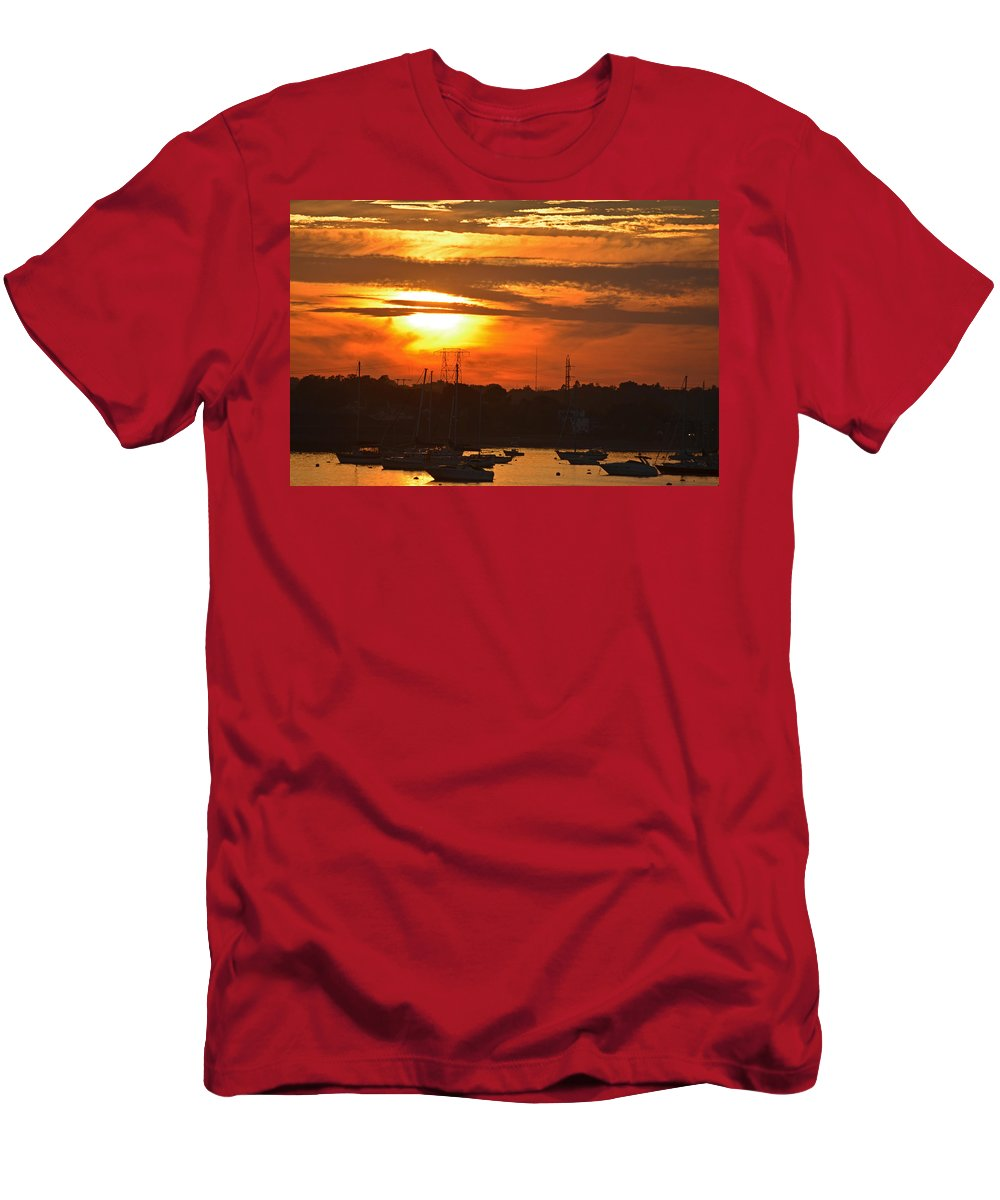 Salem Men's T-Shirt (Athletic Fit) featuring the photograph Sunset Over The Salem Willows by Toby McGuire
