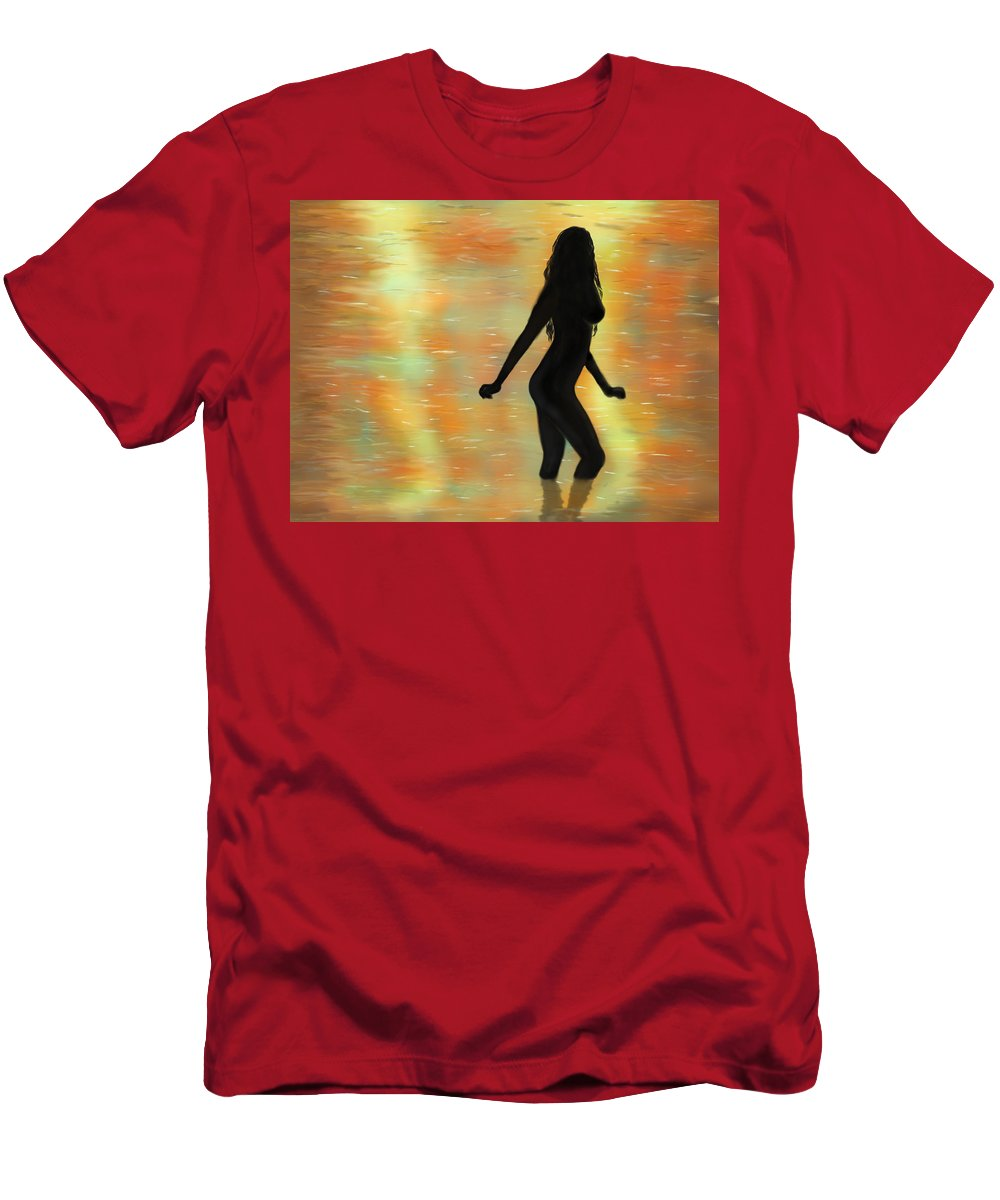 Sunset Men's T-Shirt (Athletic Fit) featuring the digital art Sunset Swimming. by Mathieu Lalonde