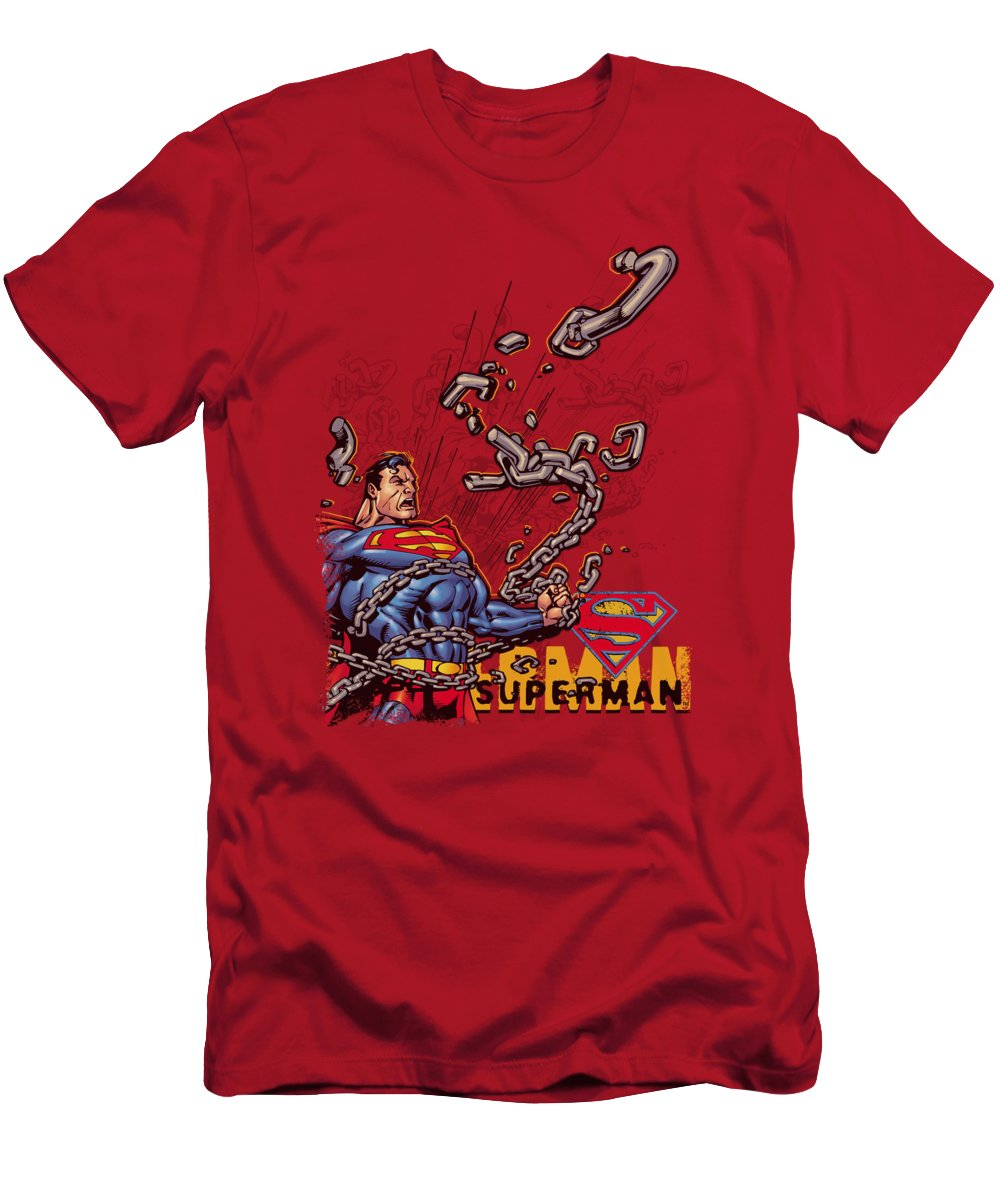 Superman T-Shirt featuring the digital art Superman - Breaking Chains by Brand A