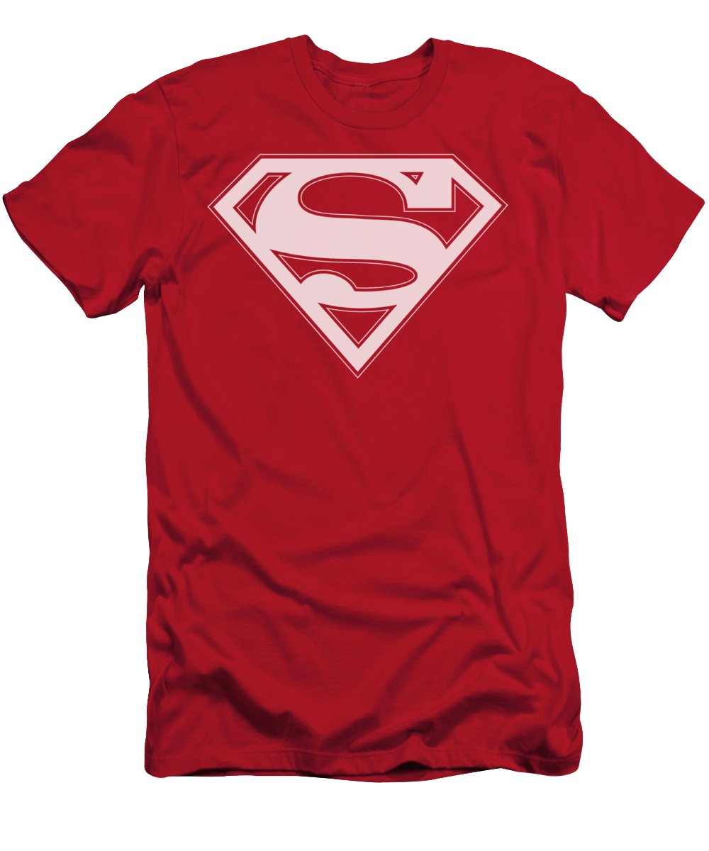Superman T-Shirt featuring the digital art Superman - Red And White Shield by Brand A