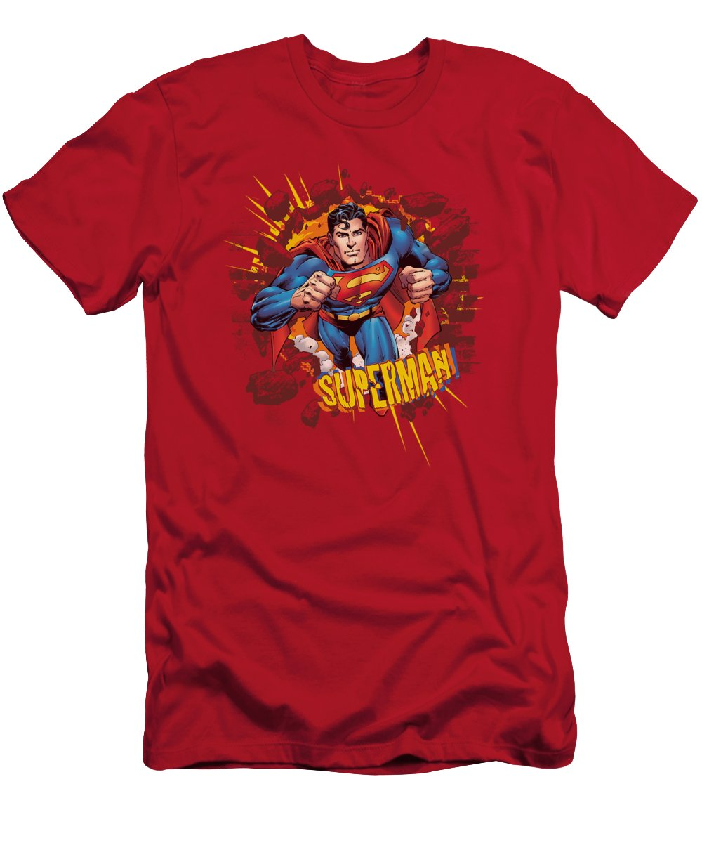Superman T-Shirt featuring the digital art Superman - Sorry About The Wall by Brand A