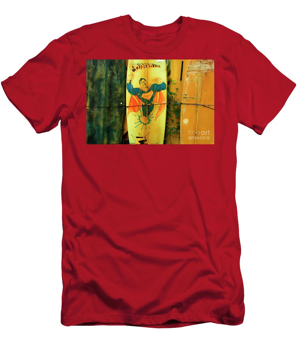 Surf Board Men's T-Shirt (Athletic Fit) featuring the photograph Superman Surfboard by Bob Christopher