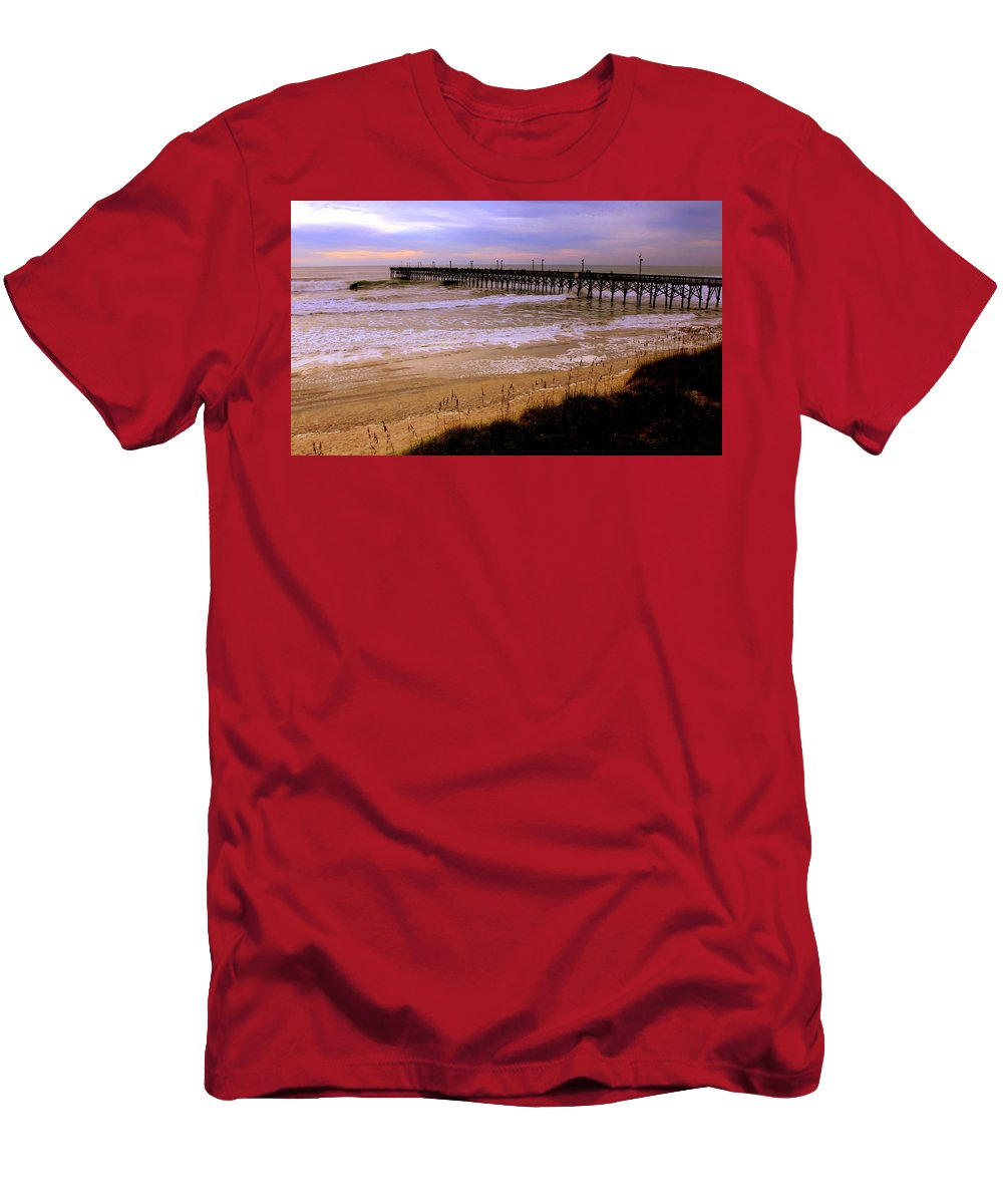Topsail Island Men's T-Shirt (Athletic Fit) featuring the photograph Surf City Pier by Karen Wiles