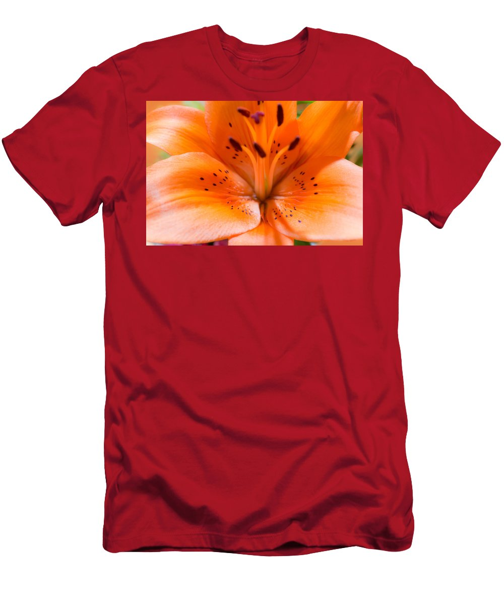 Daylily Men's T-Shirt (Athletic Fit) featuring the photograph Tangerine Daylily Closeup by JG Thompson