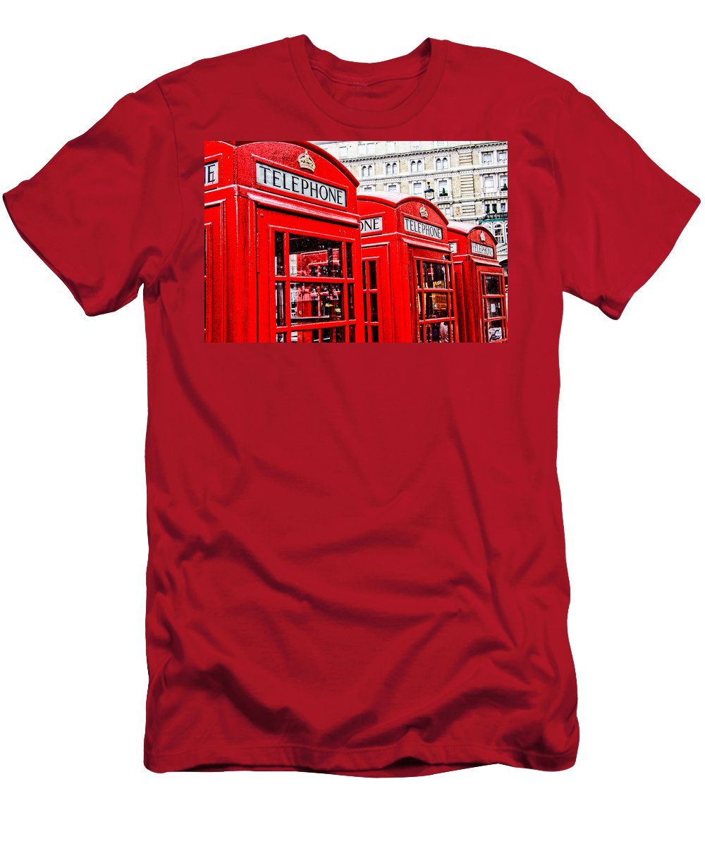 Telephone Booth Men's T-Shirt (Athletic Fit) featuring the photograph Telephone Booth by Jim Pruett
