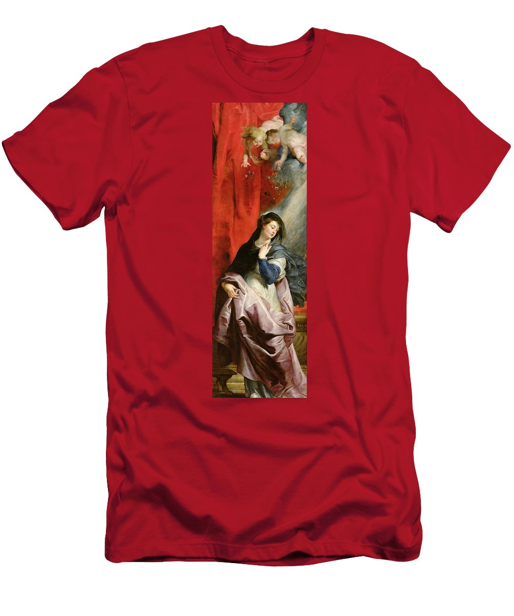 The Annunciation Men's T-Shirt (Athletic Fit) featuring the painting The Annunciation by Peter Paul Rubens
