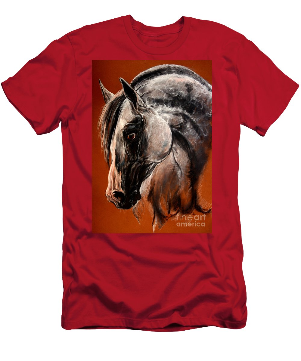 Horse Men's T-Shirt (Athletic Fit) featuring the drawing The Arabian Horse by Angel Ciesniarska