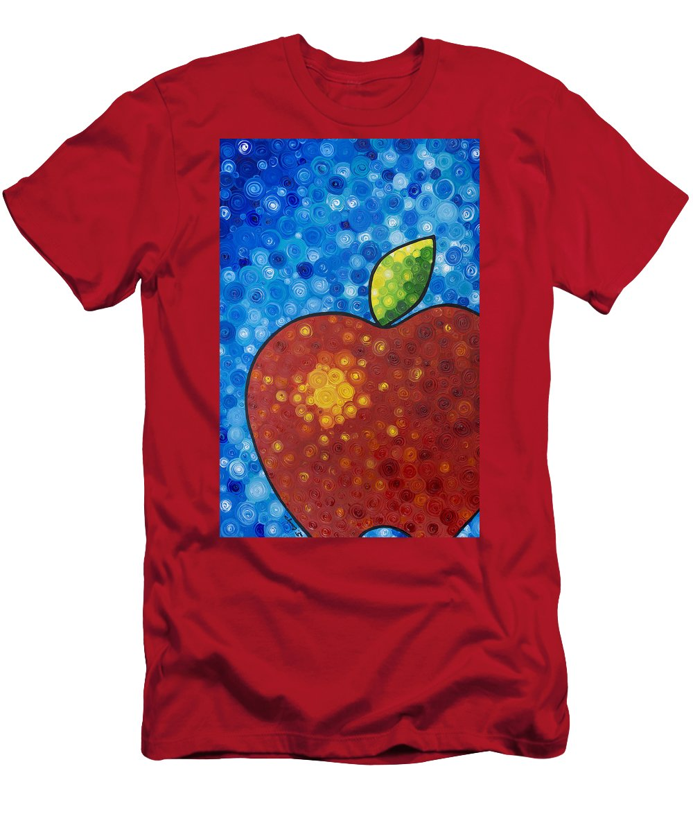 Food And Beverage Art Men's T-Shirt (Athletic Fit) featuring the painting The Big Apple - Red Apple By Sharon Cummings by Sharon Cummings