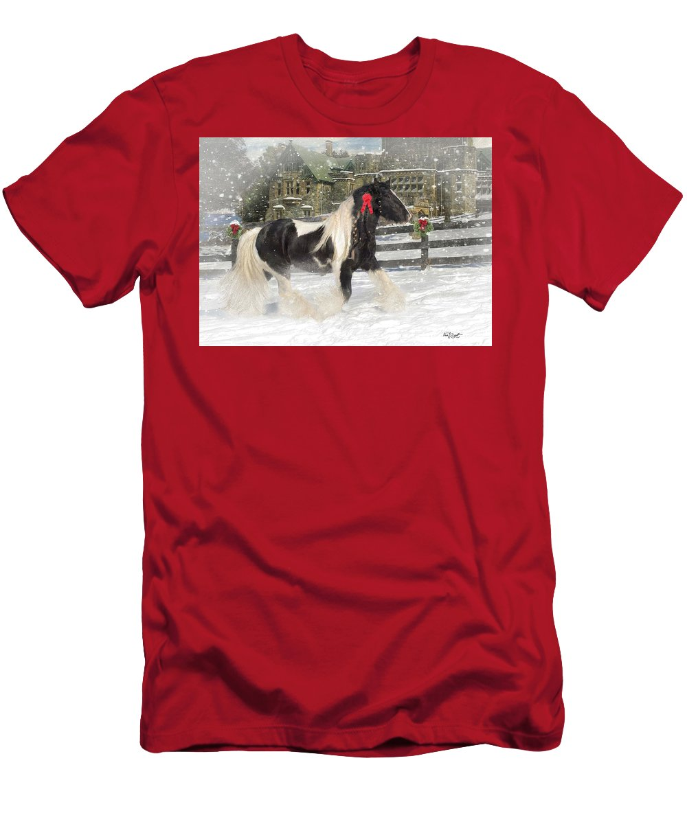 Christmas T-Shirt featuring the mixed media The Christmas Pony by Fran J Scott