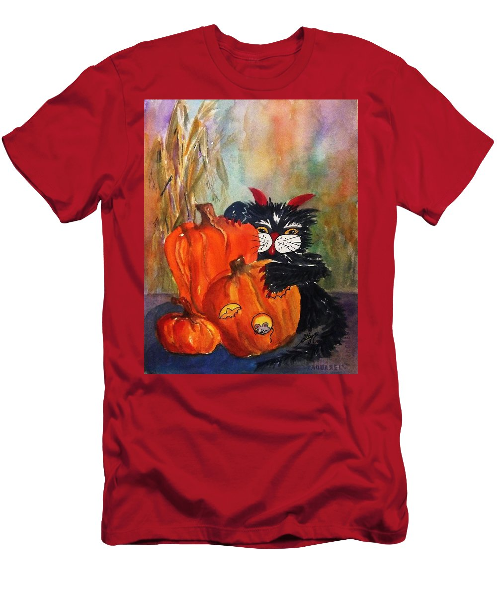 Devil Cat Men's T-Shirt (Athletic Fit) featuring the painting The Devil Made Me Do It by Ellen Levinson