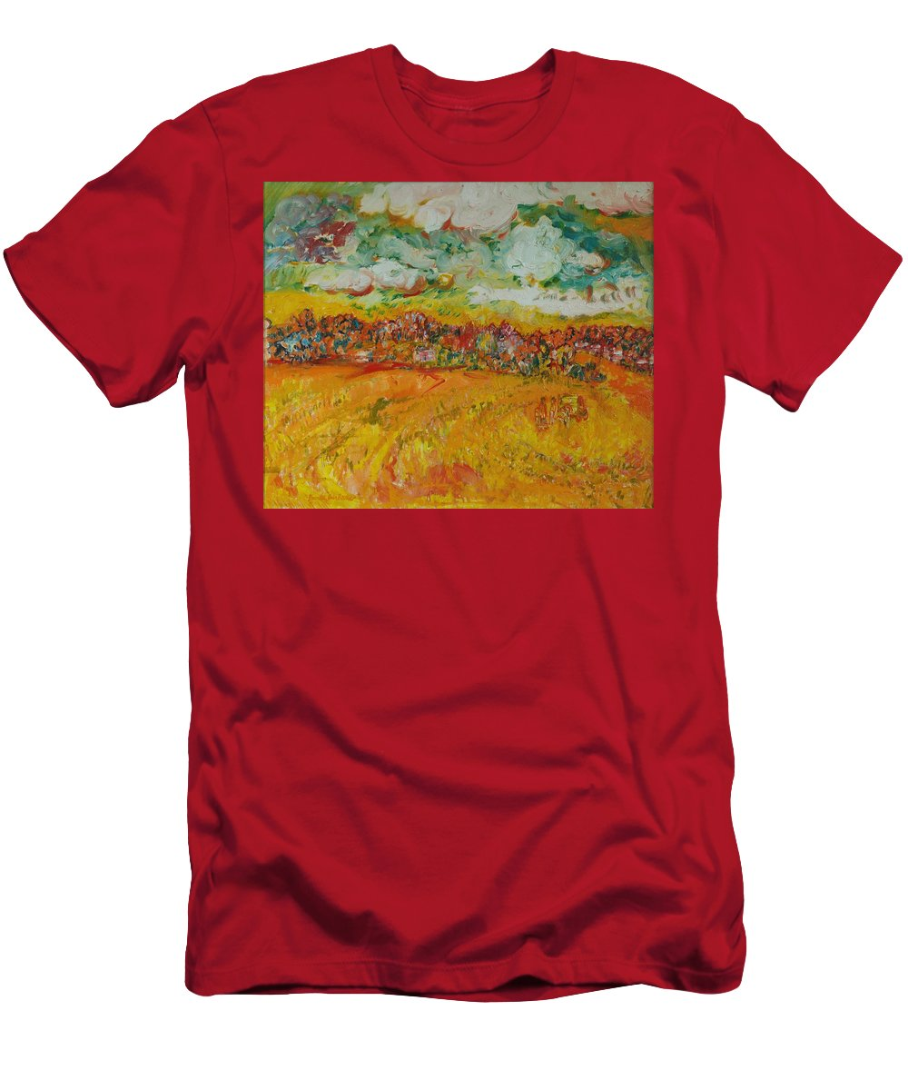 Rural Men's T-Shirt (Athletic Fit) featuring the photograph The Farmland Oil On Canvas by Brenda Brin Booker