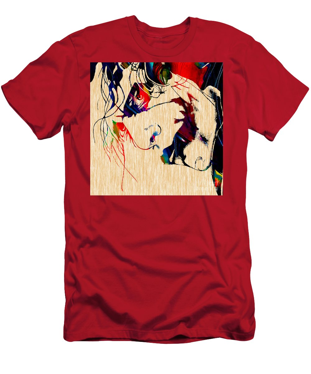 Heath Ledger Paintings Men's T-Shirt (Athletic Fit) featuring the mixed media The Joker Heath Ledger Collection by Marvin Blaine