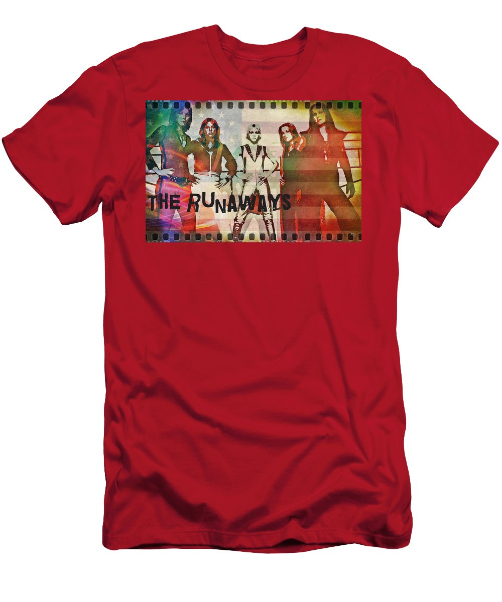 The Runaways Men's T-Shirt (Athletic Fit) featuring the digital art The Runaways - 1977 by Absinthe Art By Michelle LeAnn Scott