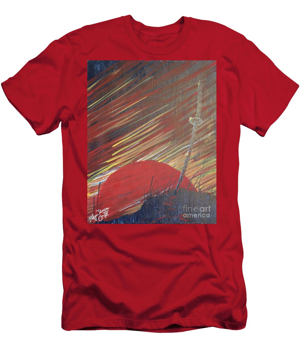 Impressionism Men's T-Shirt (Athletic Fit) featuring the painting The Samurai's Last Stand by Stefan Duncan