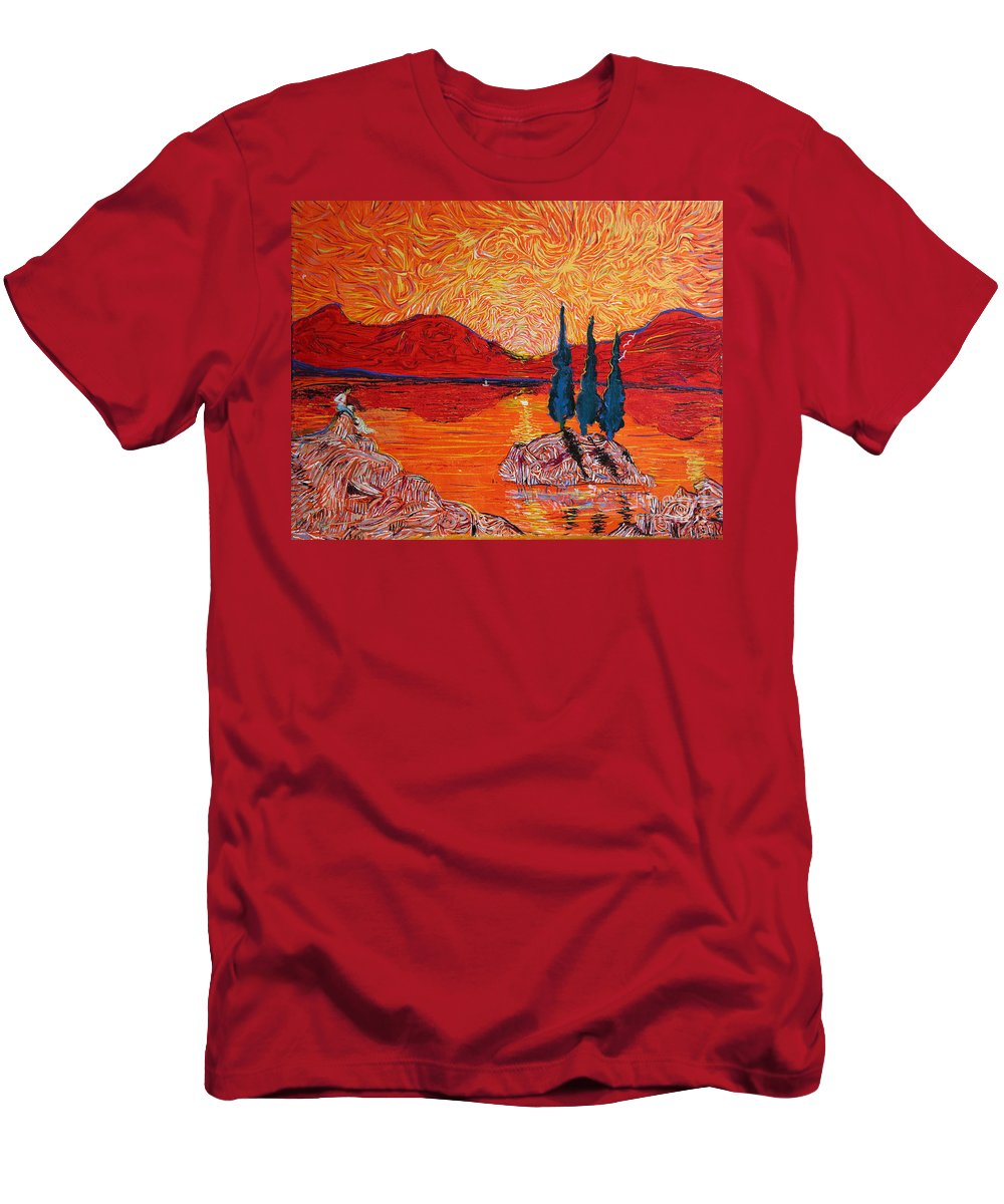 Fantasy Men's T-Shirt (Athletic Fit) featuring the painting The Scot And The Mermaid by Stefan Duncan