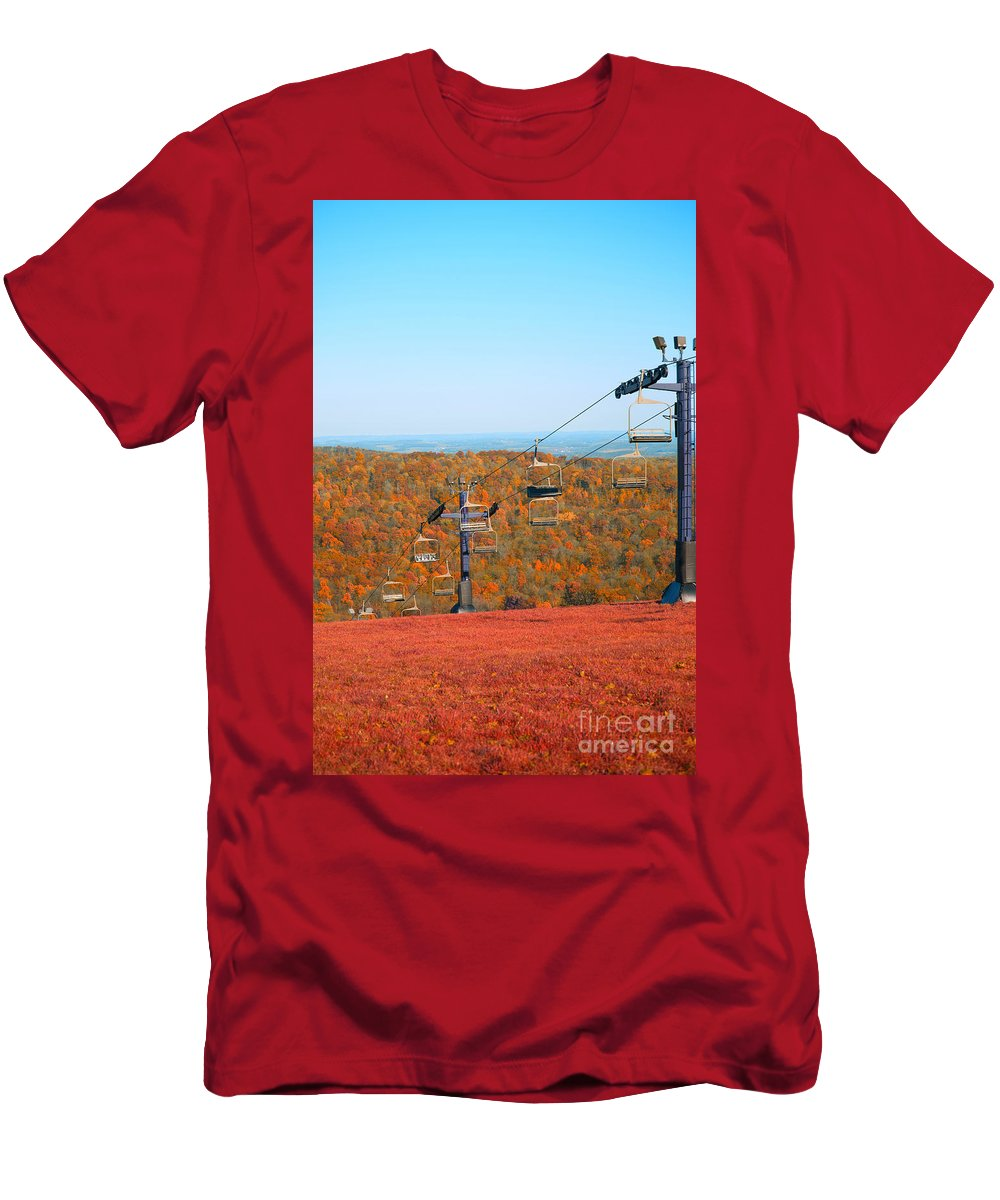 Skiing Fields Men's T-Shirt (Athletic Fit) featuring the photograph The Skiing Fields In Autumn by Douglas Barnard