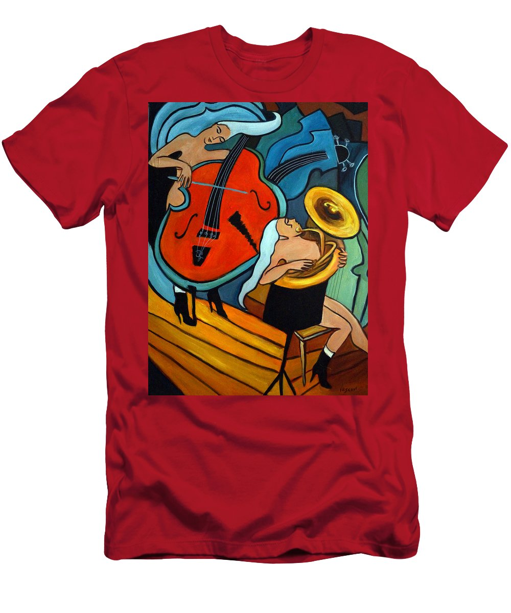 Musician Abstract Men's T-Shirt (Athletic Fit) featuring the painting The Tuba Player by Valerie Vescovi