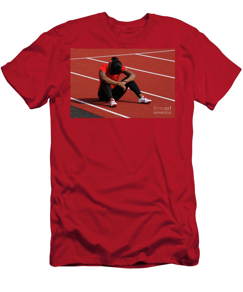 Canadian Track And Field National Championships 2011 Men's T-Shirt (Athletic Fit) featuring the photograph The Wait by Bob Christopher