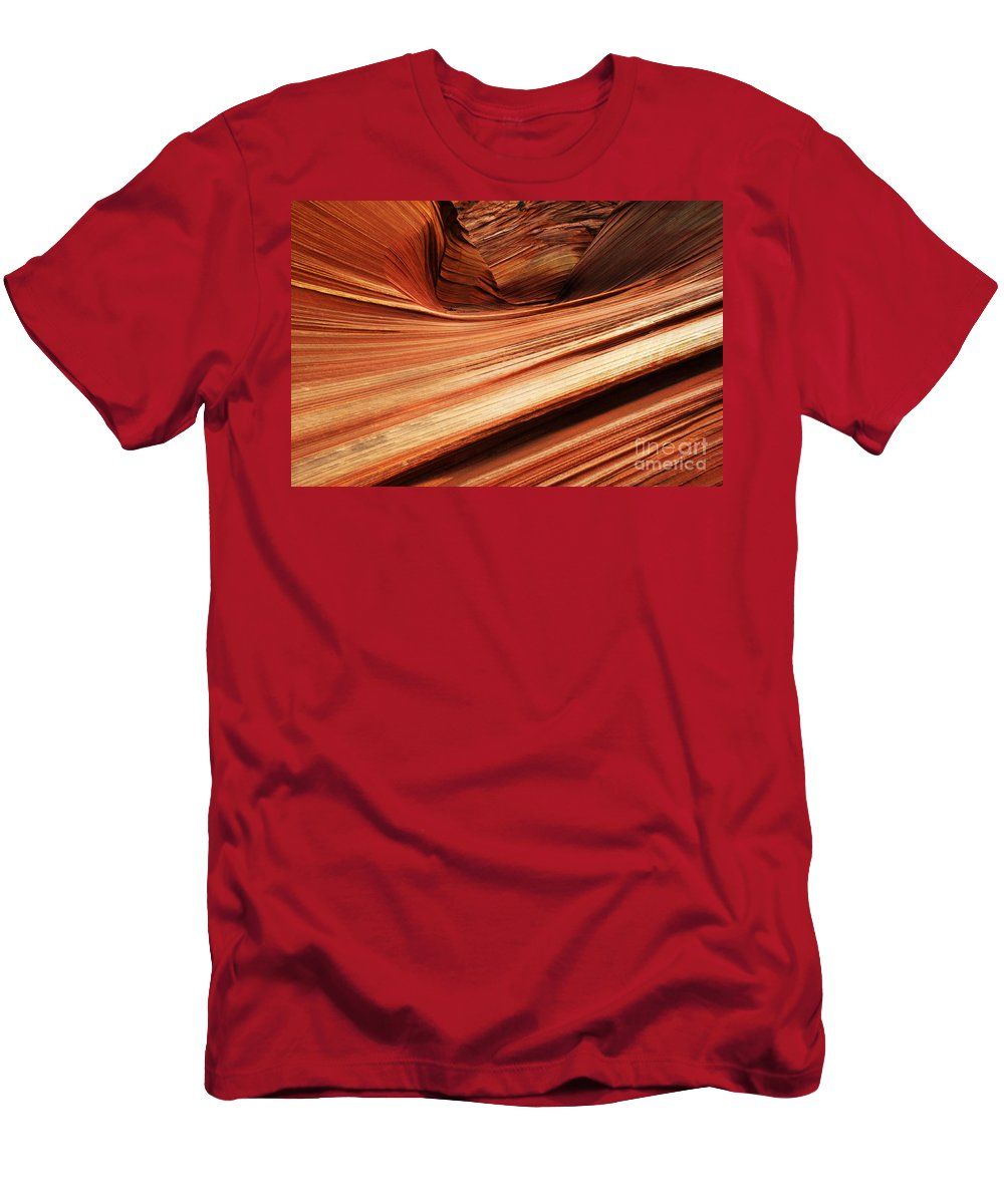 The Wave Men's T-Shirt (Athletic Fit) featuring the photograph The Wave Layers Of Time by Bob Christopher