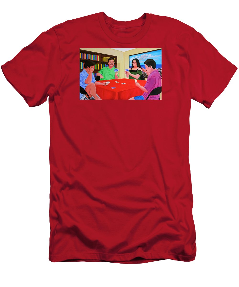 Men Men's T-Shirt (Athletic Fit) featuring the painting Three Men And A Lady Playing Cards by Cyril Maza