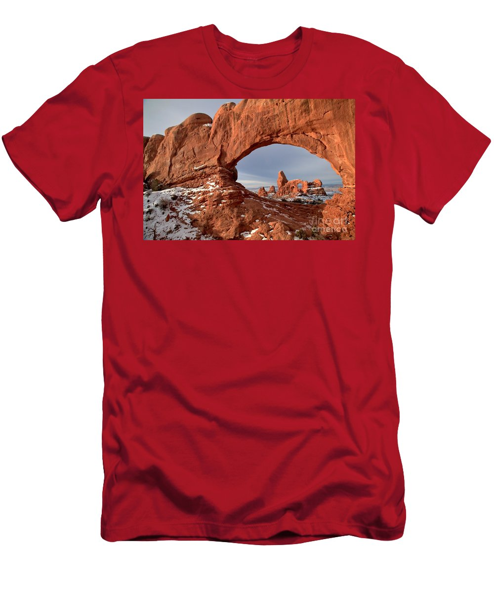 Turret Arch Men's T-Shirt (Athletic Fit) featuring the photograph Through A Rugged Window by Adam Jewell
