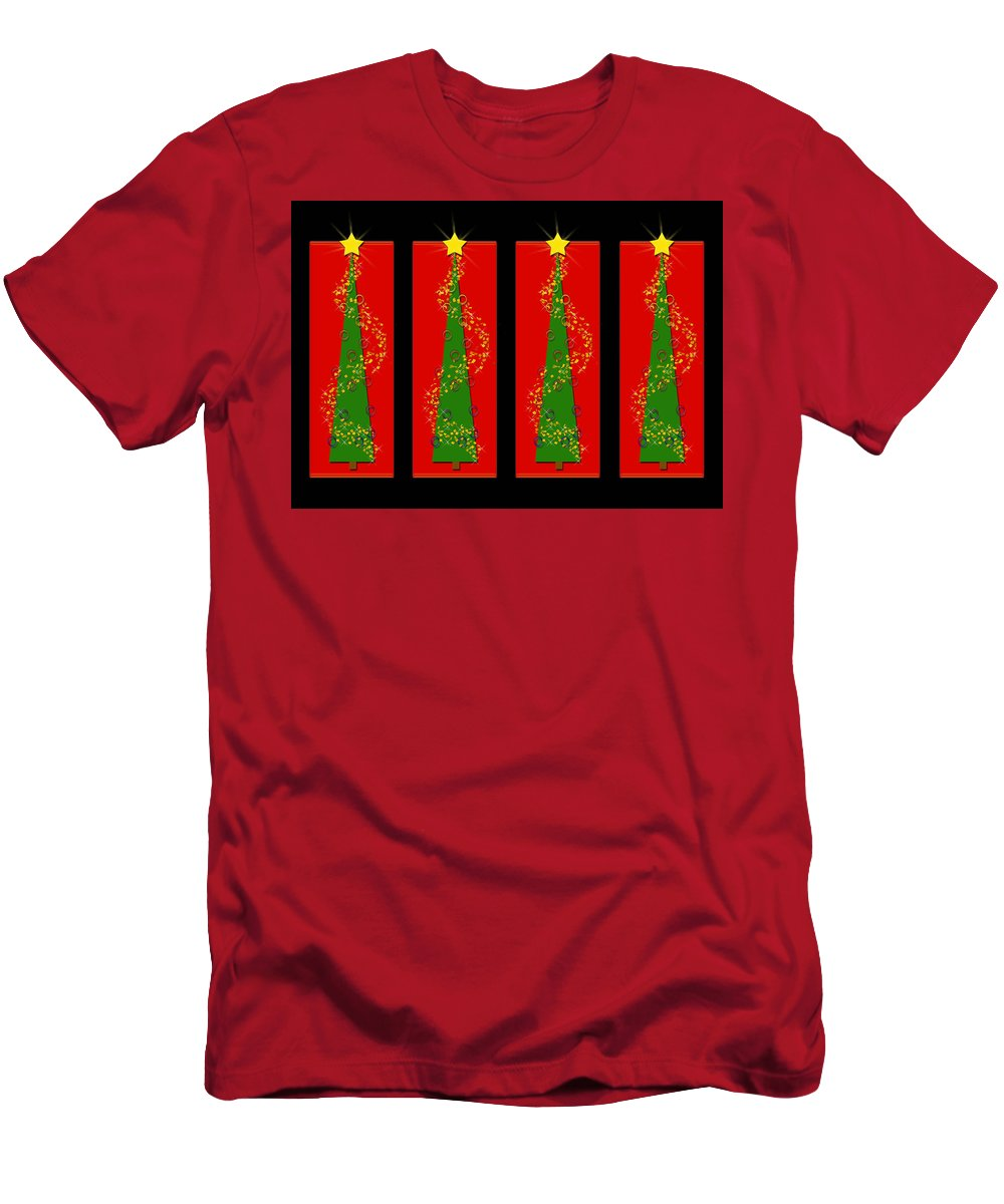 Christmas Men's T-Shirt (Athletic Fit) featuring the digital art Tidings From Trees by Lisa Knechtel