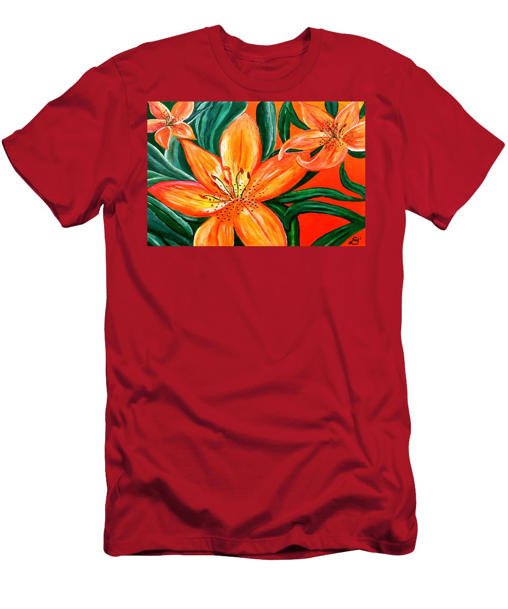 Acrylic Painting Men's T-Shirt (Athletic Fit) featuring the painting Tiger Lily Trio by Sherry Allen