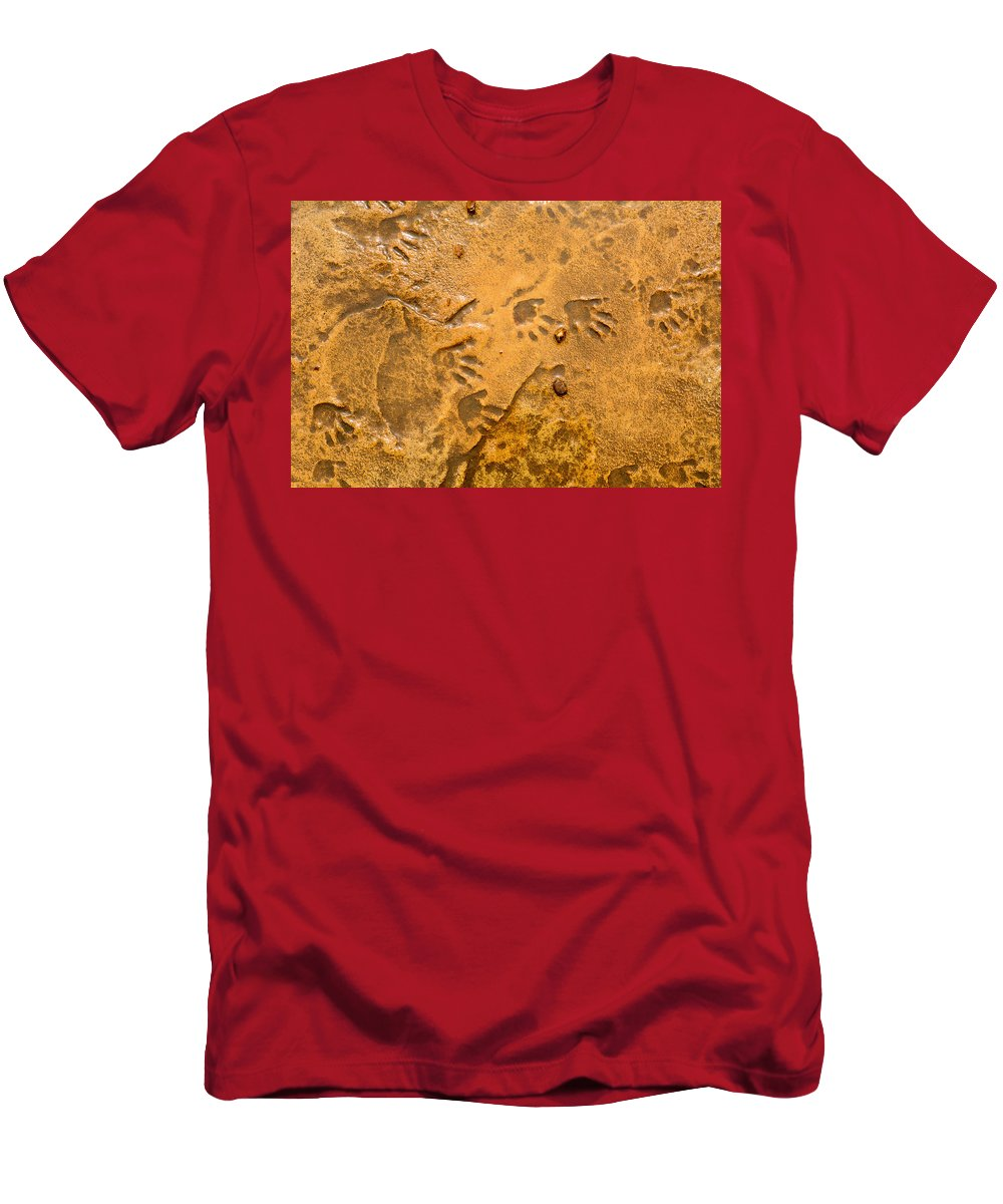 Foot Prints Men's T-Shirt (Athletic Fit) featuring the photograph Tiny Patter Of Feet by Mair Hunt
