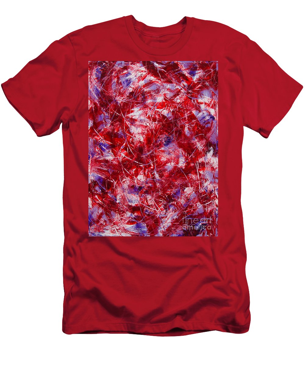 Abstract Men's T-Shirt (Athletic Fit) featuring the painting Transitions With White Red And Violet by Dean Triolo