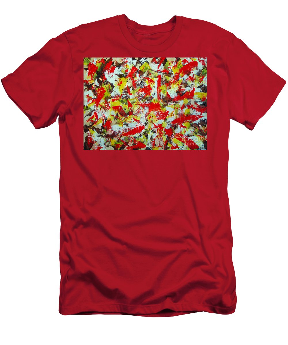 Abstract Men's T-Shirt (Athletic Fit) featuring the painting Transitions With Yellow Brown And Red by Dean Triolo