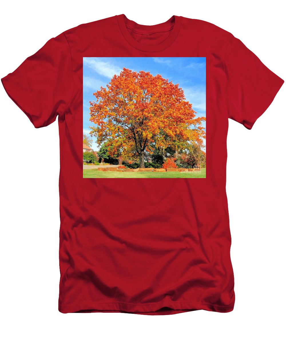 Tree Men's T-Shirt (Athletic Fit) featuring the photograph Tree In Autumn by Janette Boyd