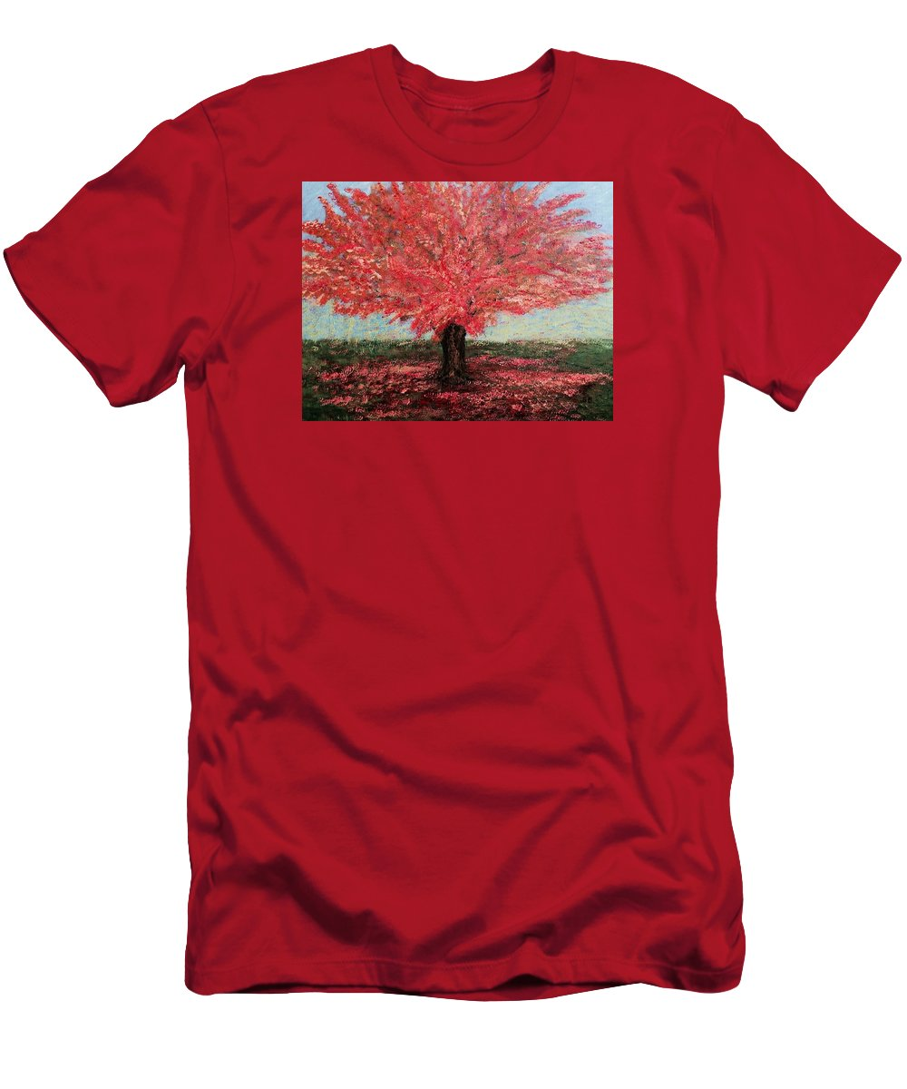 For Porch Men's T-Shirt (Athletic Fit) featuring the painting Tree In Fall by Suniti Bhand