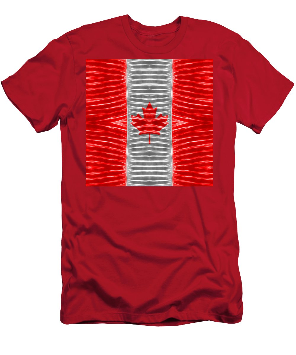 Triband Flag Men's T-Shirt (Athletic Fit) featuring the digital art Triband Flags - Canada by Carl Scallop
