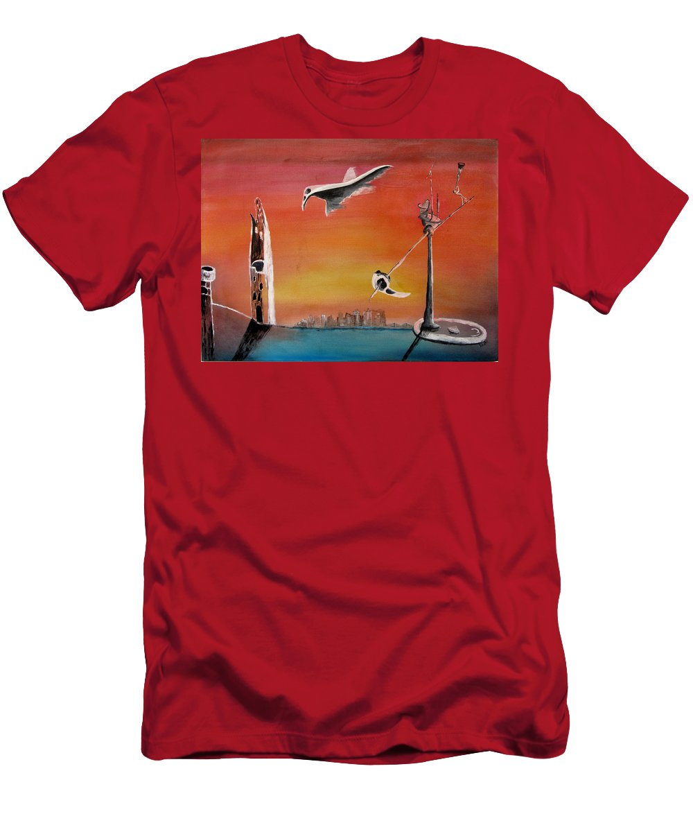 Uglydream Men's T-Shirt (Athletic Fit) featuring the painting Uglydream911 by Helmut Rottler