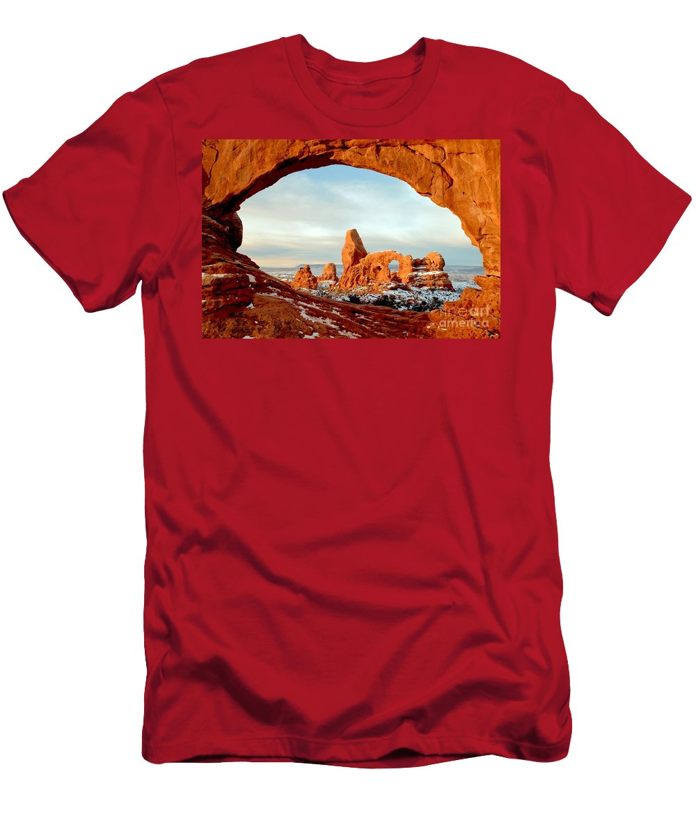Turret Arch Men's T-Shirt (Athletic Fit) featuring the photograph Utah Golden Arches by Adam Jewell