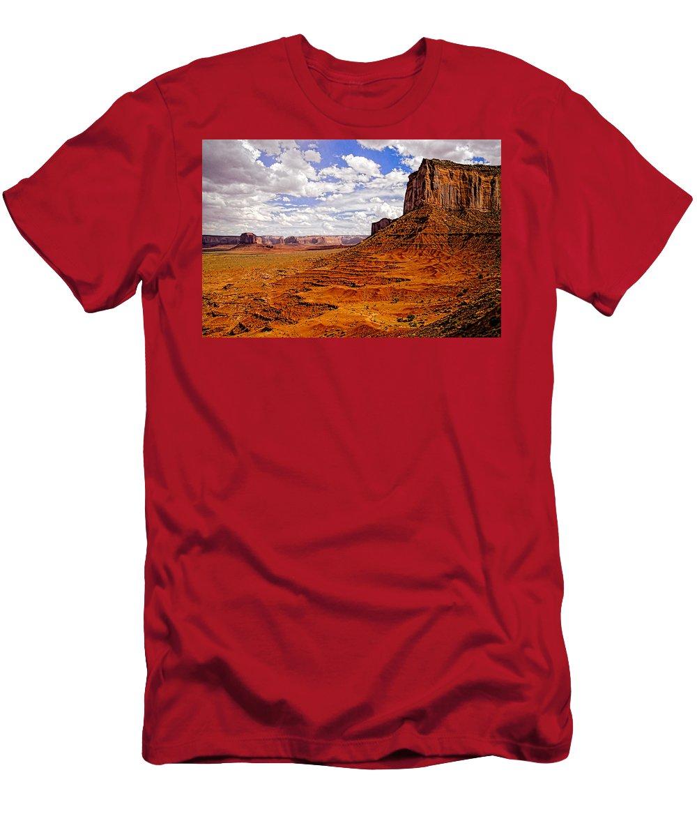 Landscape Men's T-Shirt (Athletic Fit) featuring the photograph Vast Desert - Monument Valley - Arizona by Jon Berghoff