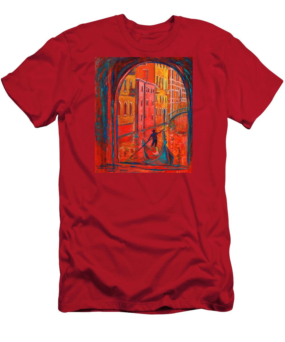 Landscape Men's T-Shirt (Athletic Fit) featuring the painting Venice Impression Viii by Xueling Zou