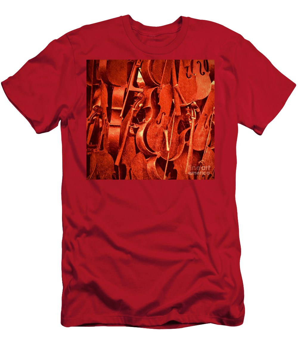 Violin Men's T-Shirt (Athletic Fit) featuring the photograph Violin Sculpture by Kathleen K Parker