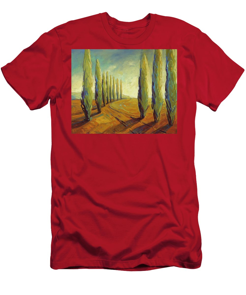 Cypress Men's T-Shirt (Athletic Fit) featuring the painting Where Evening Begins 1 by Konnie Kim