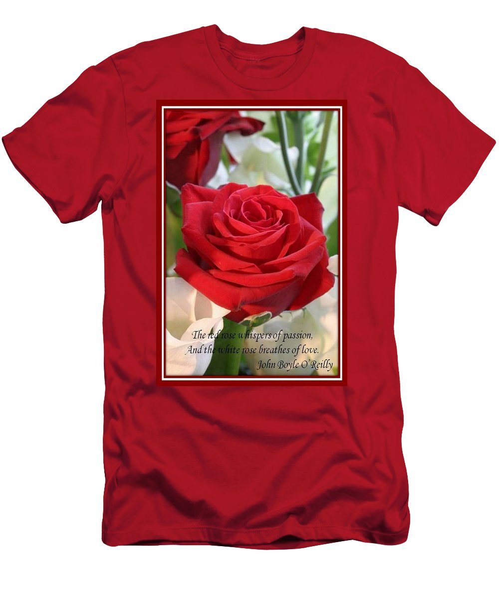 Rose Men's T-Shirt (Athletic Fit) featuring the photograph Whispers Of Passion And Love Red Rose Greeting Card by Taiche Acrylic Art