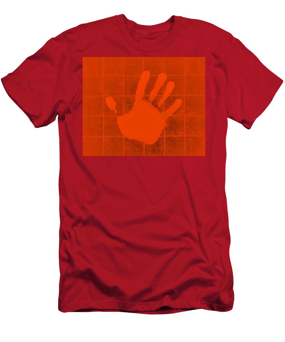 Hand Men's T-Shirt (Athletic Fit) featuring the photograph White Hand Orange by Rob Hans