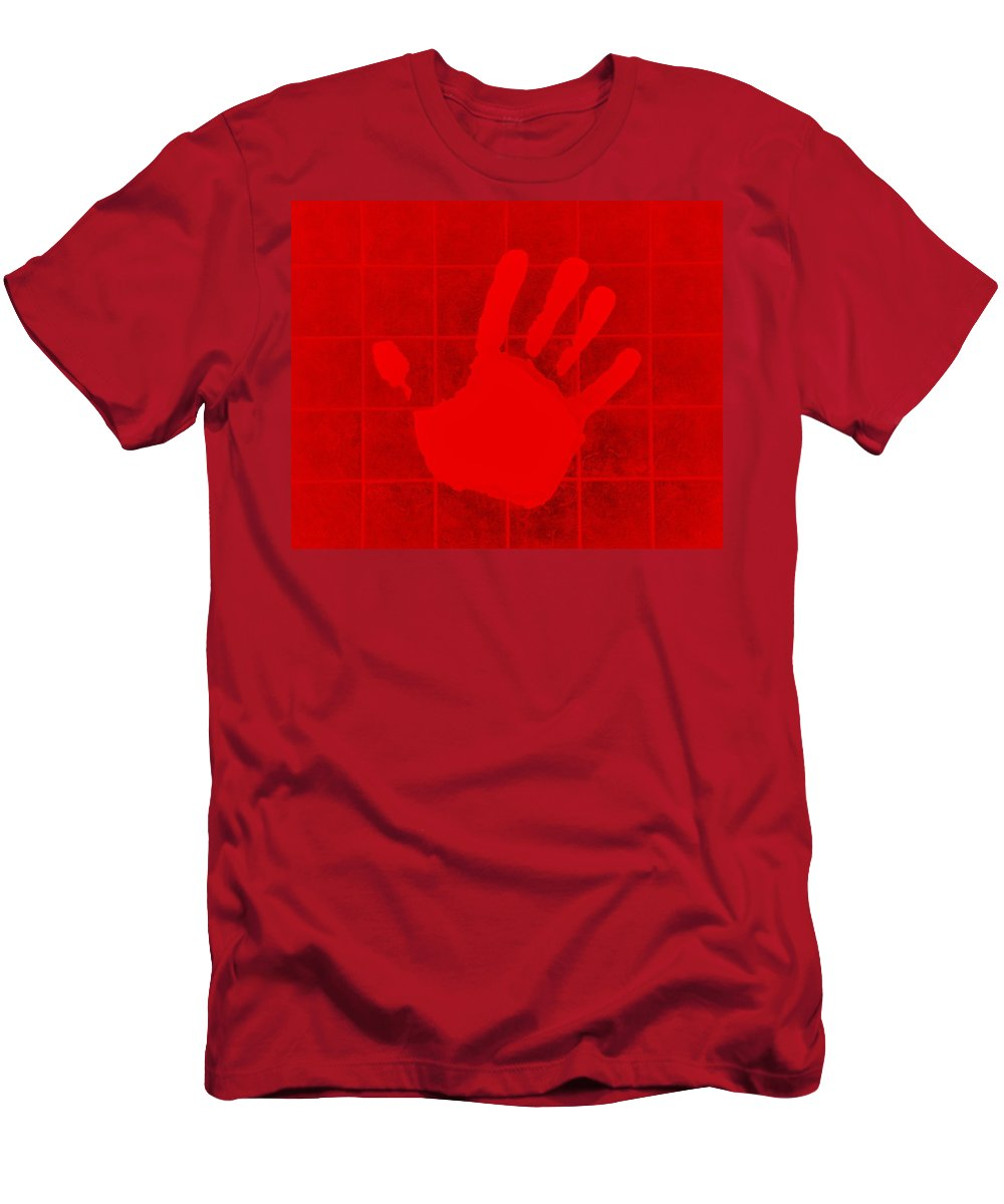 Men's T-Shirt (Athletic Fit) featuring the photograph White Hand Red by Rob Hans
