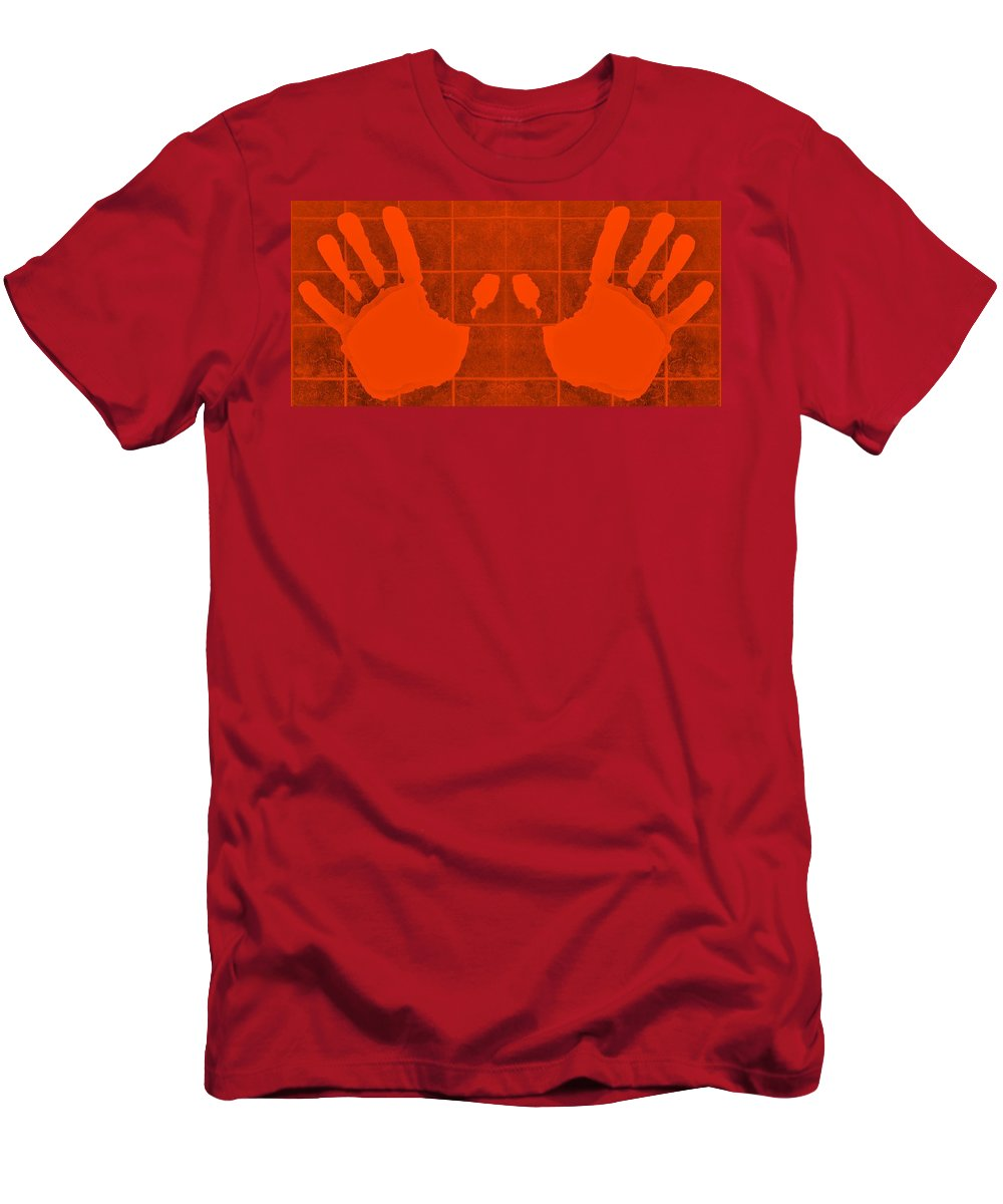 Hand Men's T-Shirt (Athletic Fit) featuring the photograph White Hands Orange by Rob Hans