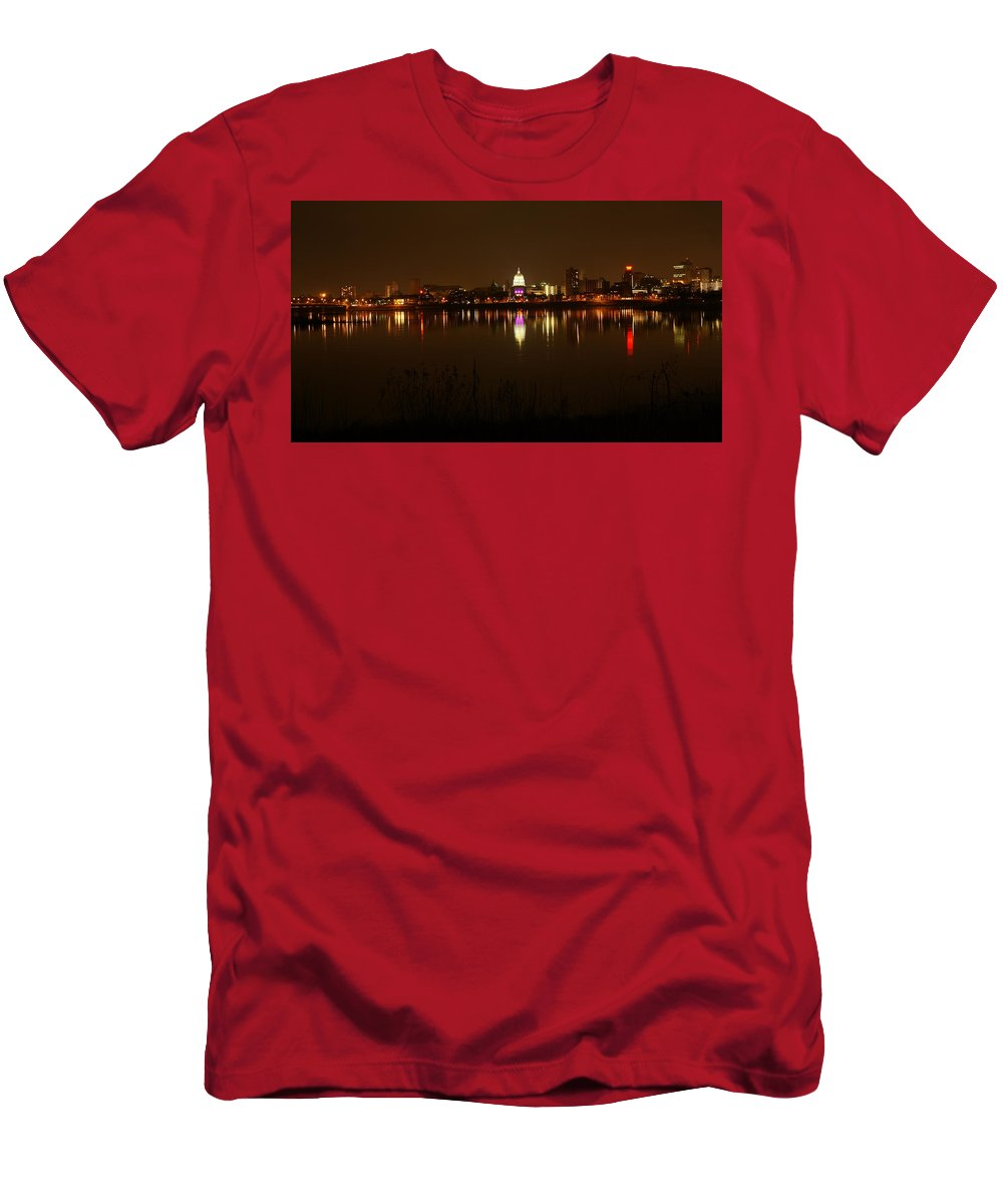 Harrisburg Men's T-Shirt (Athletic Fit) featuring the photograph Wide Shot Of The City Skyline by Rob Luzier