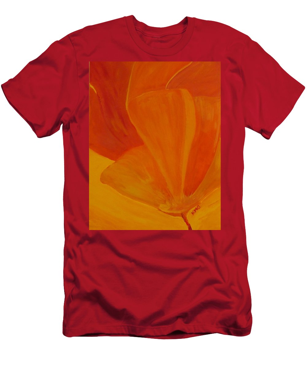 Orange Poppies Men's T-Shirt (Athletic Fit) featuring the painting Wild Poppy by Kimberly Maxwell Grantier